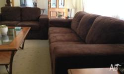 Chocolate brown suede lounge suite 1x3 seater +1x2