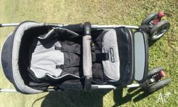 This four wheeled pram is comfortable and sturdy. The
