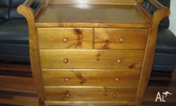 Love n Care Sleigh Chest / Change Table Heritage Teak -