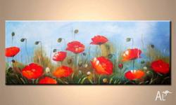 Lovely, highly detailed floral artwork. 80x150cm