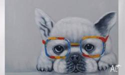 Lovely, quirky and cute hand painted Dog portrait