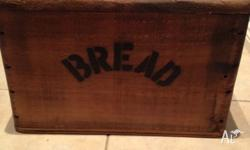 Beautiful vintage old wooden bread box for sale. This