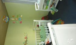 Sleigh design cot, chest of drawers, changing table and