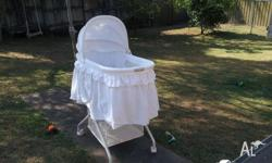 In very good condition. Matress, stand, storage