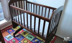 Lullabye Cradle - solid timber cradle with slat sides.
