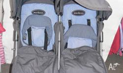 MacLarens Twin Pram, both seats fully recline, comes