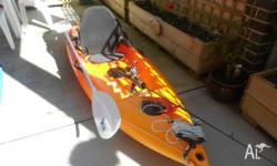 9 FT MAHI KAYAK IN GOOD CONDITION COMES WITH OFF SET