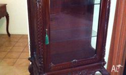 Mahogany crystal display cabinet approx 146cm High