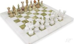 This beautifully hand crafted chess set is carved and