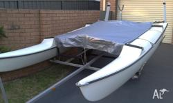 For Sale 4.3m catamaran (MARICAT) on trailer. White