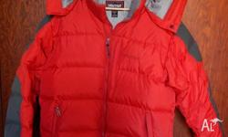 Red and Charcoal Marmot 100% Goose down jacket with