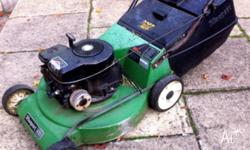 Two Masport 430 motor mowers. One is going, just; and