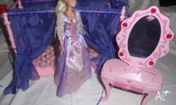 Mattel Barbie doll & Musical Princess bed & musical