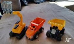 GET 3 MEGA BLOCKS TRUCKS GREAT FOR FUN INSIDE OR