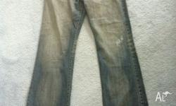 Used Nobody jeans denim grey with rip effect size 34.