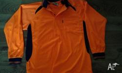 3x Used DNC Large long sleeve fluro orange shirts 2x