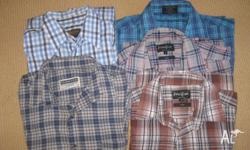 5 mens shirts as pictured. All size medium. Worn but in