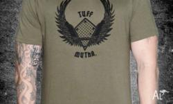 100% cotton T shirt with Tuff Mutha logo on front and