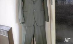 MENS SUIT, SAGE GREEN WITH PIN STRIPES, SIZE REGULAR