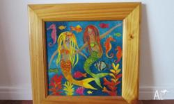 Hand painted tile of mermaid in pine frame perfect