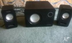 Great sound - deep bass. Unmarked. One white set and