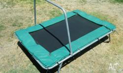 Child's trampoline, including safety bar. Measures 6 ft