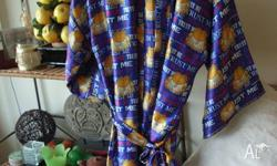"Mitch Dowd satin robe. Garfield ""Trust Me"" design. Mens"