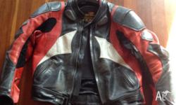 AGVSPORT men's leather jacket size 56.....armour in