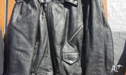 SAK LEATHER MOTORCYCLE JACKET. ALL ZIPS & STUDS IN GOOD
