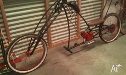 custom made chopper bicycle redback spider theme 80cc