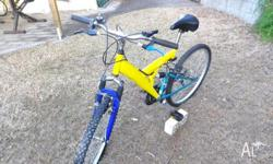 MOUNTAIN BIKE 18 SPEED SHIMANO GEARS BLUE AND YELLOW