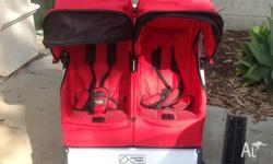 Bright red Duo Mountain Buggy. Barely used. Great