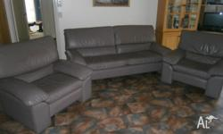 Leather lounge suite .Warm grey leather - comprising if