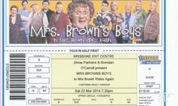 Mrs Brown Rides Again. One ticket for Brisbane