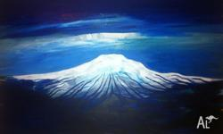 Acrylic on canvas painting of Mt Kiliminjaro. 76.5 W x