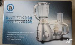 Has a blender and a food processor. Various graters for