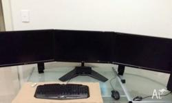 Three 24 inch LG flatron (early 2013) screens mounted