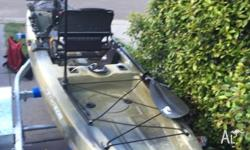 Up for sale is my fishing kayak with trailer which