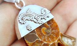 STERLING SILVER 925 NATURAL AMMONITE FOSSIL HANDCRAFTED