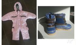Girls pink snow suit suit 6 to 12 months (big fit) Snow