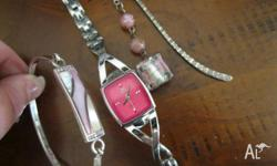 Near new - womens pink & silver jewellery set: 1. Guess