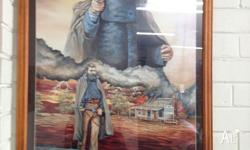 Ned Kelly Print, framed in glass 960mm x 660mm Artist -