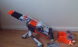 The Nerf Rhino-Fire with dual barrel action which can