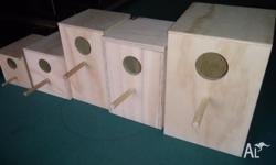 Nest Boxes: Finch - $5 ea, Gouldian finch - $8 ea,