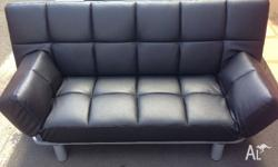 Brand new modern Euro 3 seater leather sofa bed, with