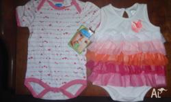 Both baby girls bodysuits are NEW Size 00 Will seperate