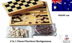 New Fold able Wooden 3 in 1 Board Game Set-