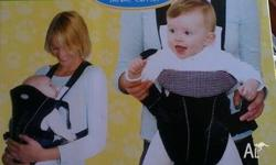 This baby carrier is designed to be comfortable and to