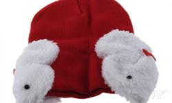 Brand NEW Red Beanie with attached bunny earmuff. Size