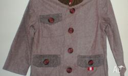 Brown fully lined buttoned up. 100% cotton